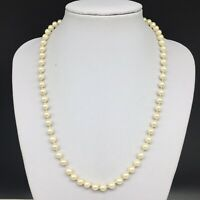 """Vintage 1928 Faux Pearl Beaded Hand Knotted Necklace 18.5"""" Long"""