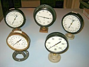 Lot of 5 Vintage Pressure Gauges Various Sizes Steampunk Mounted