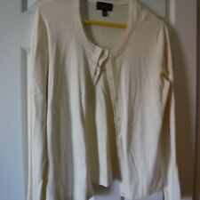 INVESTMENTS JEWEL NECK IVORY FINE KNIT CARDIGAN SWEATER,SIZE L, PRE-OWNED