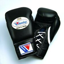 New Winning Boxing Gloves MS-300 Black 10oz Pro Type Lace-up EMS Japan