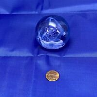 """Caithness Moon Crystal Scotland Glass Paperweight, Blue, Purple & Lavender 2.25"""""""