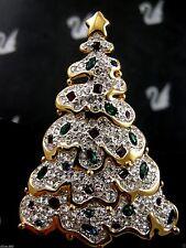 SIGNED SWAROVSKI 1997 PAVE' CRYSTAL CHRISTMAS TREE PIN  PIN~BROOCH RETIRED NIB