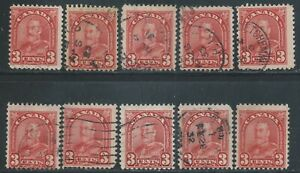 Canada #167(4) 1931 3 cent deep red KING GEORGE ARCH/LEAF V 10 Used