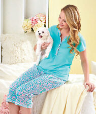 women's plus size 2X 22 24 contrast trim pajama set Turquoise New ladies plus pj