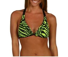 GUESS Women's Animal Frenzy Halter Bikini Top Swimsuit - S Black/Green