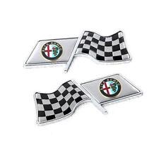 Car Emblem Decoration Side Badge Fender Sticker Logo For Alfa Romeo With F1 Flag