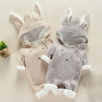 Newborn Infant Baby Boy Girl Cartoon Hooded 3D Ear Romper Jumpsuit Clothes UK