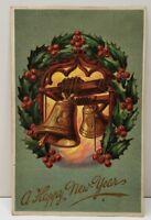 Happy New Year Embossed Bell Wreath 1909 Postcard B21