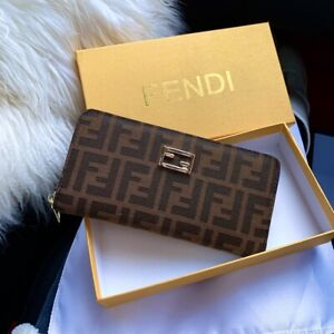 Authentic Womens Fendi Zucchino Compact Brown Long Wallet