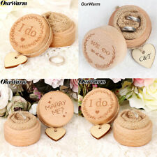 Creative Rustic Wedding Ring Bearer Box Engagement Ring Box with Love Heart Tag