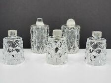 5 Partylite Quilted Bubbles opalescent clear glass peg votive candle holders