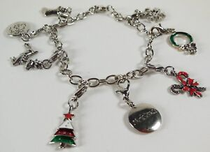 Womans Christmas Charm Bracelet Stocking Tree Cane Snowflake Silver Tone