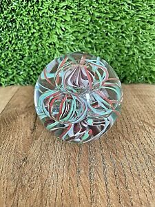 VINTAGE ART GLASS PAPERWEIGHT WITH GREEN & ORANGE TWISTED RIBBONS BOXED