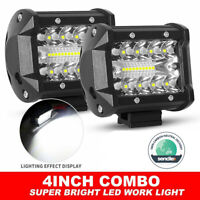 Pair 4 inch Work Lights Spot Flood LED Light Bar Reverse 4WD 12V 24V Spread