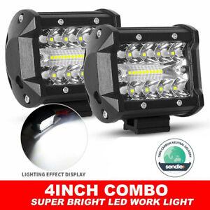Pair 4 inch Work Lights Spot Flood LED Light Bar Reverse 4WD 12V 24V Spread