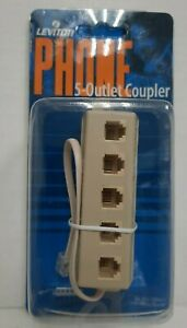 Leviton 5-Outlet RJ11 Telephone Modular Extension Jack Line Splitter Ivory New