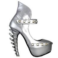 Black/Silver Stud Ankle Strap Platform Bone Heels Club Pumps Size 4/5/6/7/8/9/10