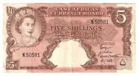 British East Africa Banknote 5 Shillings 1958 1960 P37 VF Queen Elizabeth Money