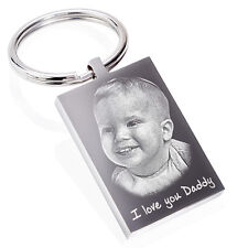 Personalised Keyring, Keychain Photo & text Engraved unique Keepsake Gift