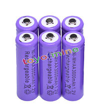 6x AA 3000 mAh de la batería recargable Ni-MH 2A púrpura para MP3/RC/Cámara