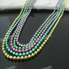 "Lot 50 Pcs 2.4mm 24"" Colorful Bead Chains Necklace 1"