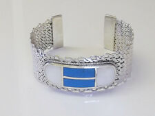 Turquise and white mother of pearl heavy silver cuff bracelet