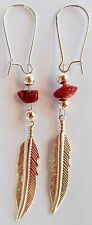 Navajo Silver ¾ inch Feather Earrings Coral nugget by Roseanne Manygoats