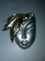 Vintage Silver Tone and Gold Tone Mask Brooch or Pin with Rhinestone accent