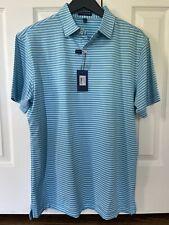 Peter Millar Mens Crown Crafted Tailored Fit Golf Shirt Blue Medium