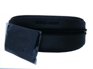 New GIORGIO ARMANI eye glasses spectacle case Black, AUTHENTIC, zip, cloth, 002