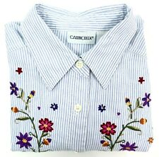 Cabin Creek Shirt Womens Size Petite M Blue White Striped Embroidered Flowers
