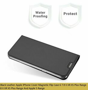 Black Leather Apple IPhone Cover Magnetic Flip Case 6 7 8 X XR XS Plus Range