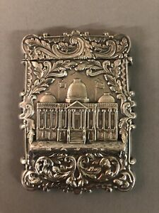 Antique Coin Silver Capitol Of Washington Calling Card Case 1880's