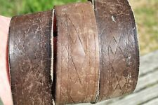 SICK WIDE DISTRESSED TOOLED LEATHER WESTERN WORK BELT 34-36