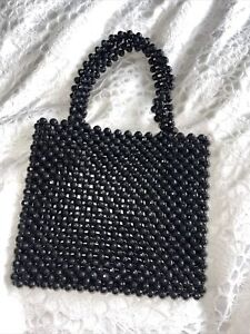 Black Mini Beaded Tote Bag