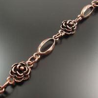 Antiqued Copper Rose Flower Alloy Neckalce Bracelet Link Sweater Chain 1M 1PC