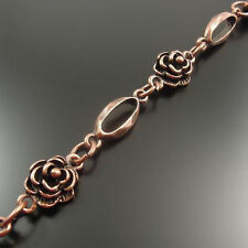 Antiqued Copper Rose Flower Alloy Neckalce Bracelet Link Sweater Chain 1M 1PC