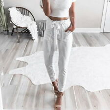 Fashion Women High Waist Drawstring Elastic Long Pants Stripped Pencil Trousers