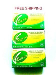 3 PACK CLORURO DE MAGNESIO/ MAGNESIUM CHLORIDE FLAKES 100mg ea