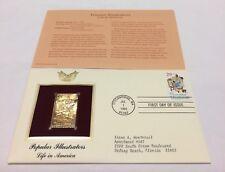 Popular Illustrators Life Norman Rockwell Stamp, Jul 1 1994 FDC and 22kt gold