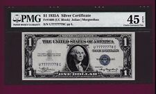Fr.1608  $1  1935 A  SILVER CERTIFICATE NOTE LUCKY SN U 77777778 A TWO DIGIT PMG