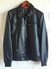 MINT  Puma Genuine Leather Jacket Men's Size S, Black - Perforated! Vintage