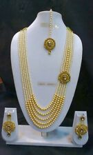 Bollywood Indian Ethnic Designer Gold Plated Fashion Gold Pearl Jewelry Set