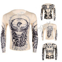 Men 3D Tattoo Printed Long Sleeve Crew Neck Tee T-Shirt Slim Fit Tank Tops Shirt