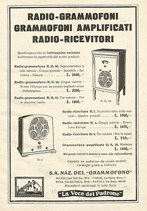 W7755 The Voice Of Owner - Listing Gramophones - Advertising 1932 - Old Advert