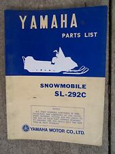 **1972 Yamaha SL-292C Snowmobile Illustrated Parts List MORE SNO-MO IN STORE  V