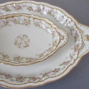 """2 Antique HAVILAND Porcelain Platters 14"""" PINK ROSES Double GOLD Schleiger 844"""