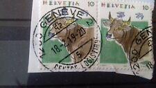 Suisse 1992 : Timbre sur framant  des animaux de ferme oblitéré  .