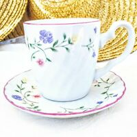 Vintage Johnson Brothers England Summer Chintz Cup & Saucer Pink Blue Yellow