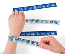 12 CHRISTMAS Winter Party Favors Paper Metallic SNOWFLAKE SLAP BRACELETS